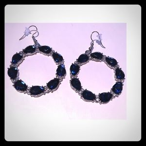 "3/$24 1 3/4"" Round Silver Blue Rhinestone Earrings"